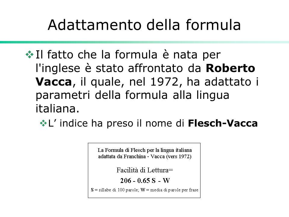 Adattamento della formula