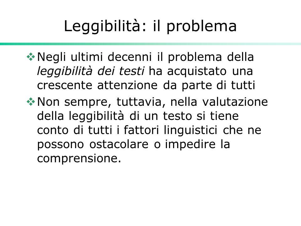 Leggibilità: il problema