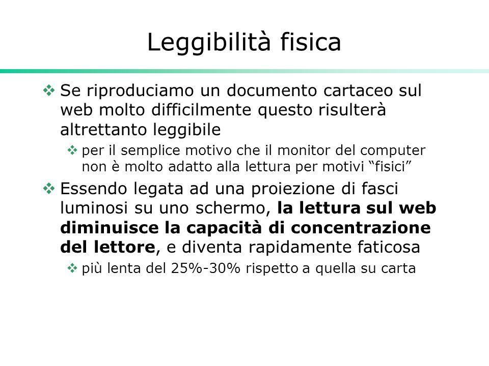 Leggibilità fisica Se riproduciamo un documento cartaceo sul web molto difficilmente questo risulterà altrettanto leggibile.