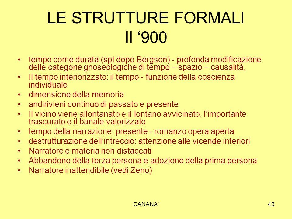 LE STRUTTURE FORMALI Il '900