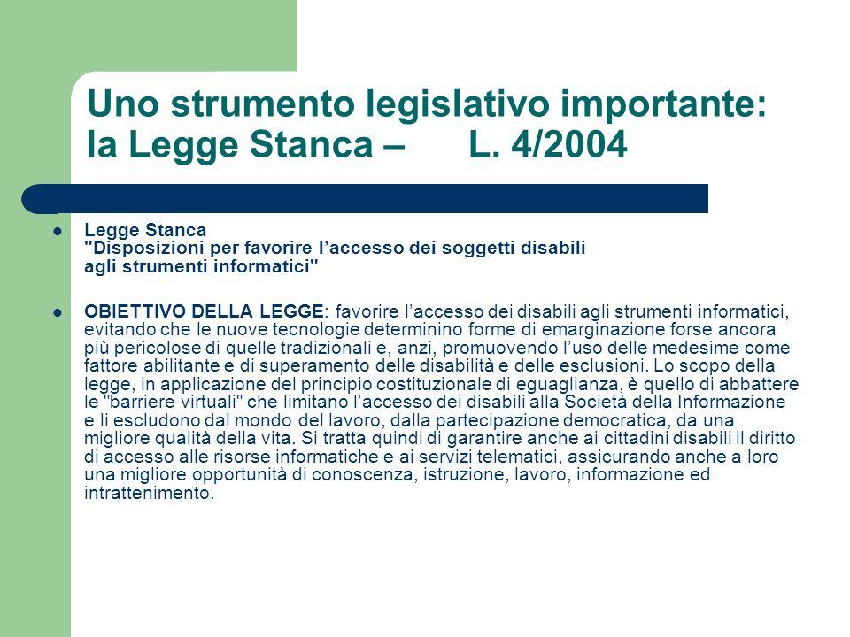Uno strumento legislativo importante: la Legge Stanca – L. 4/2004