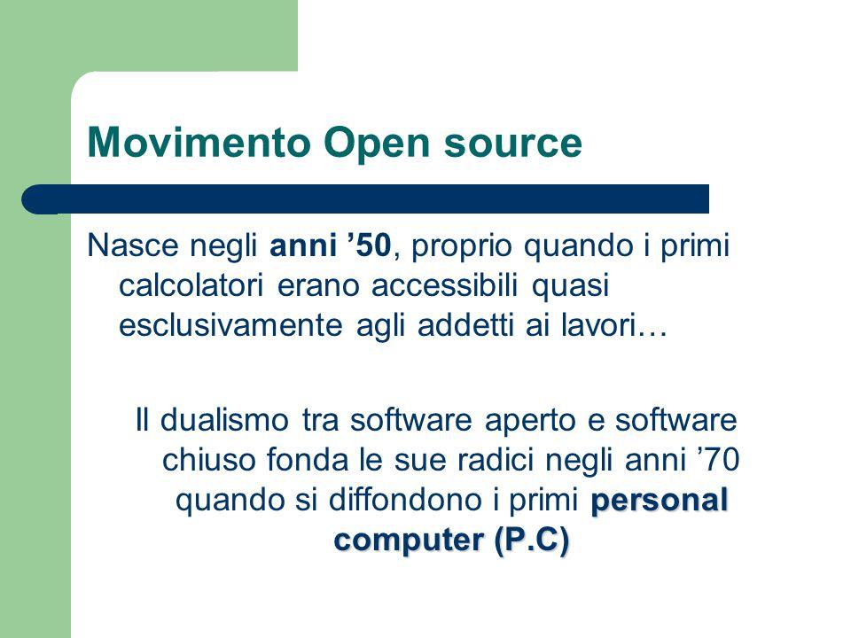 Movimento Open source Nasce negli anni '50, proprio quando i primi calcolatori erano accessibili quasi esclusivamente agli addetti ai lavori…