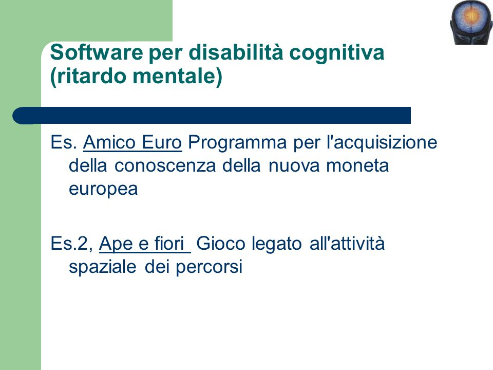 Software per disabilità cognitiva (ritardo mentale)