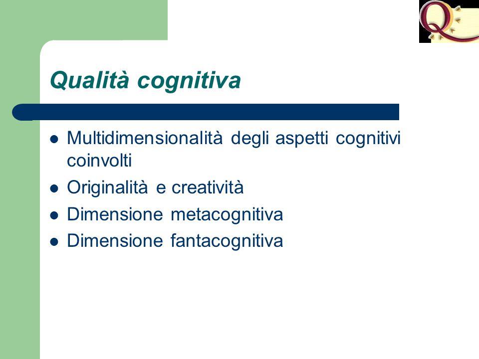 Qualità cognitiva Multidimensionalità degli aspetti cognitivi coinvolti Originalità e creatività