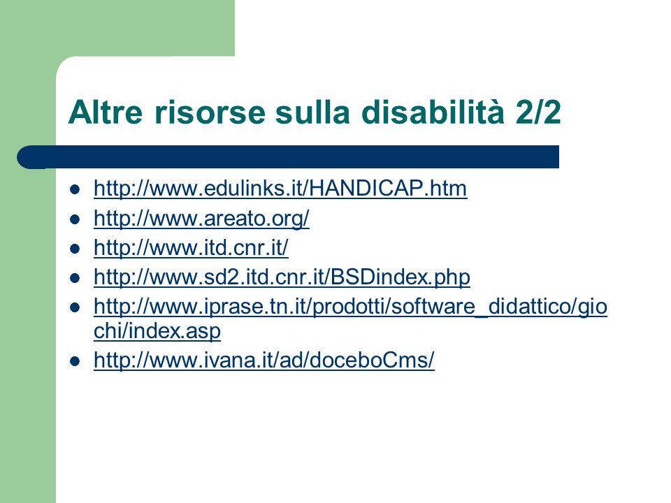 Altre risorse sulla disabilità 2/2