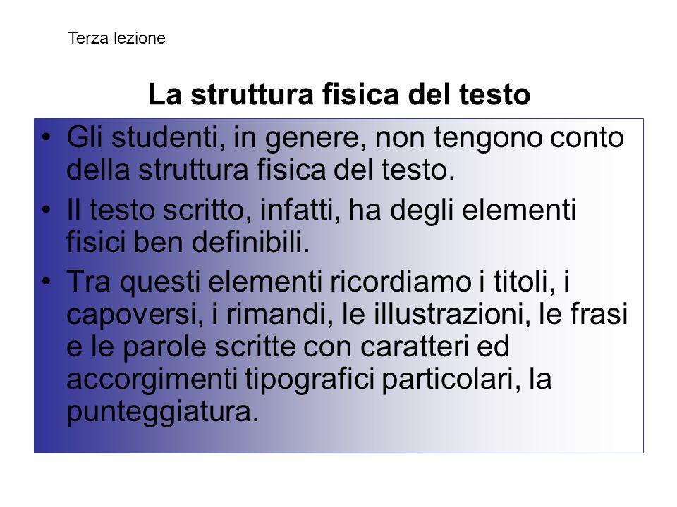 La struttura fisica del testo
