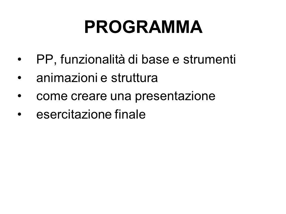 PROGRAMMA PP, funzionalità di base e strumenti animazioni e struttura