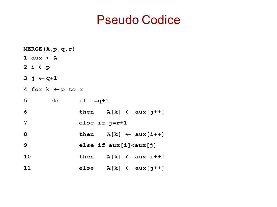 Pseudo Codice MERGE(A,p,q,r) 1 aux  A 2 i  p 3 j  q+1