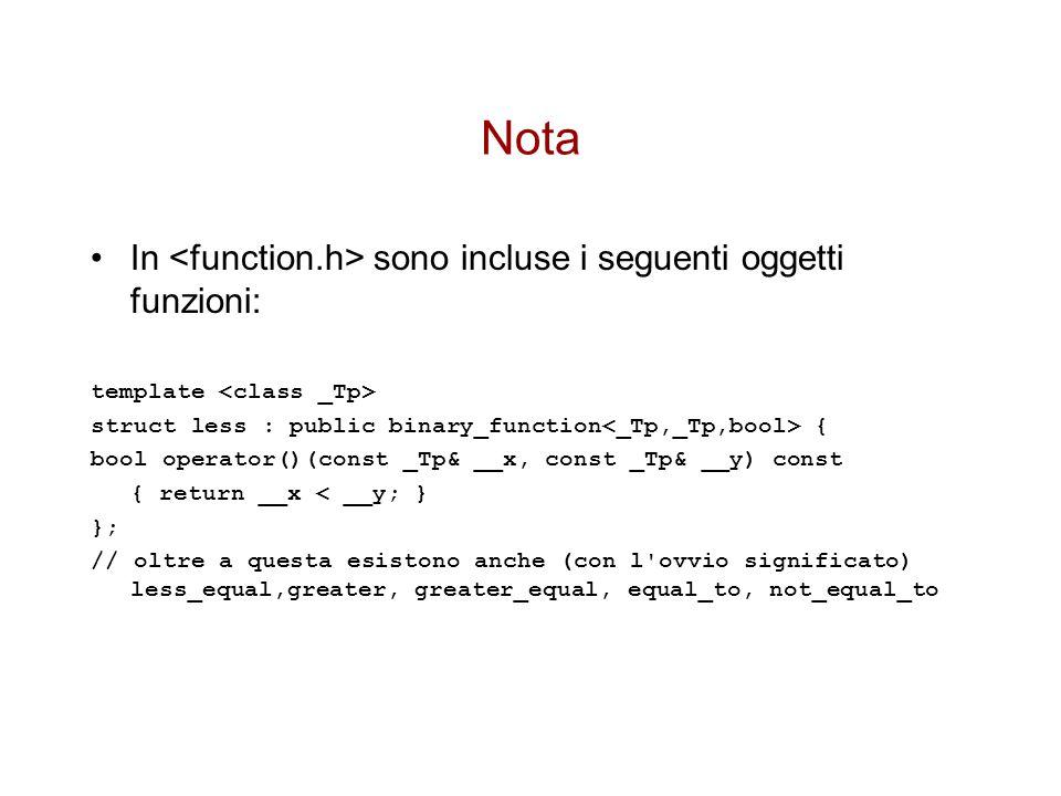 Nota In <function.h> sono incluse i seguenti oggetti funzioni: