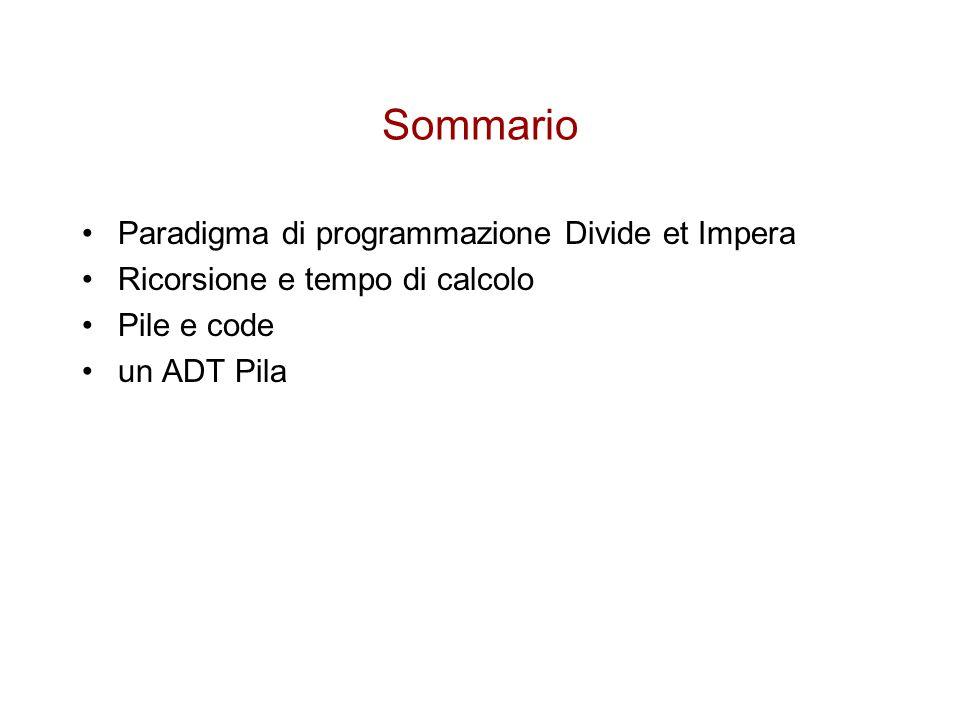 Sommario Paradigma di programmazione Divide et Impera