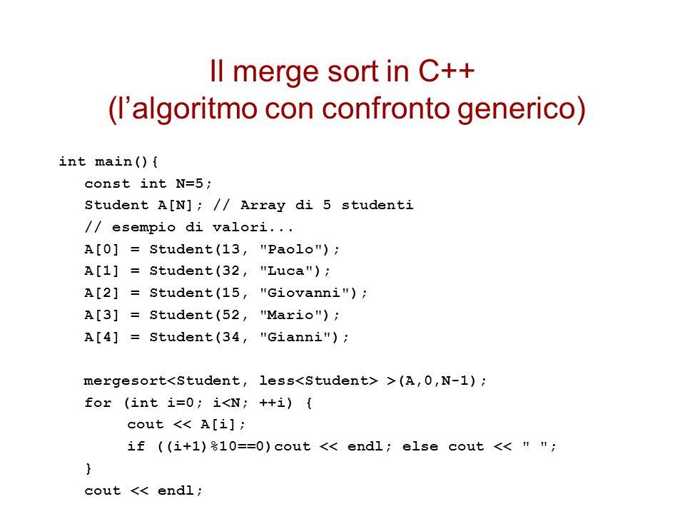 Il merge sort in C++ (l'algoritmo con confronto generico)
