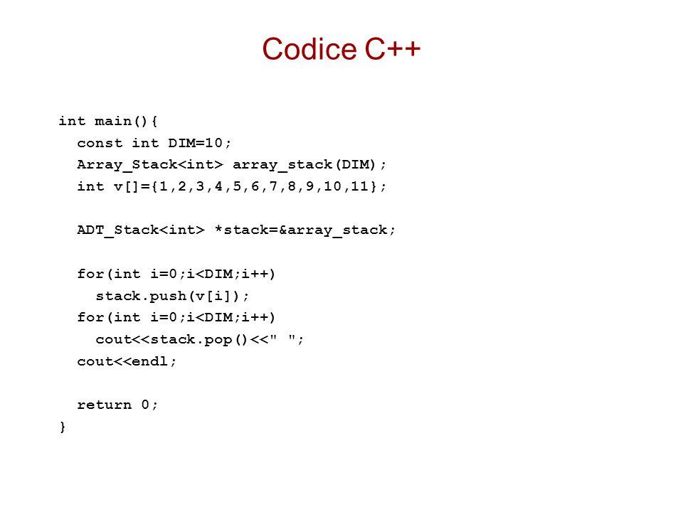 Codice C++ int main(){ const int DIM=10;