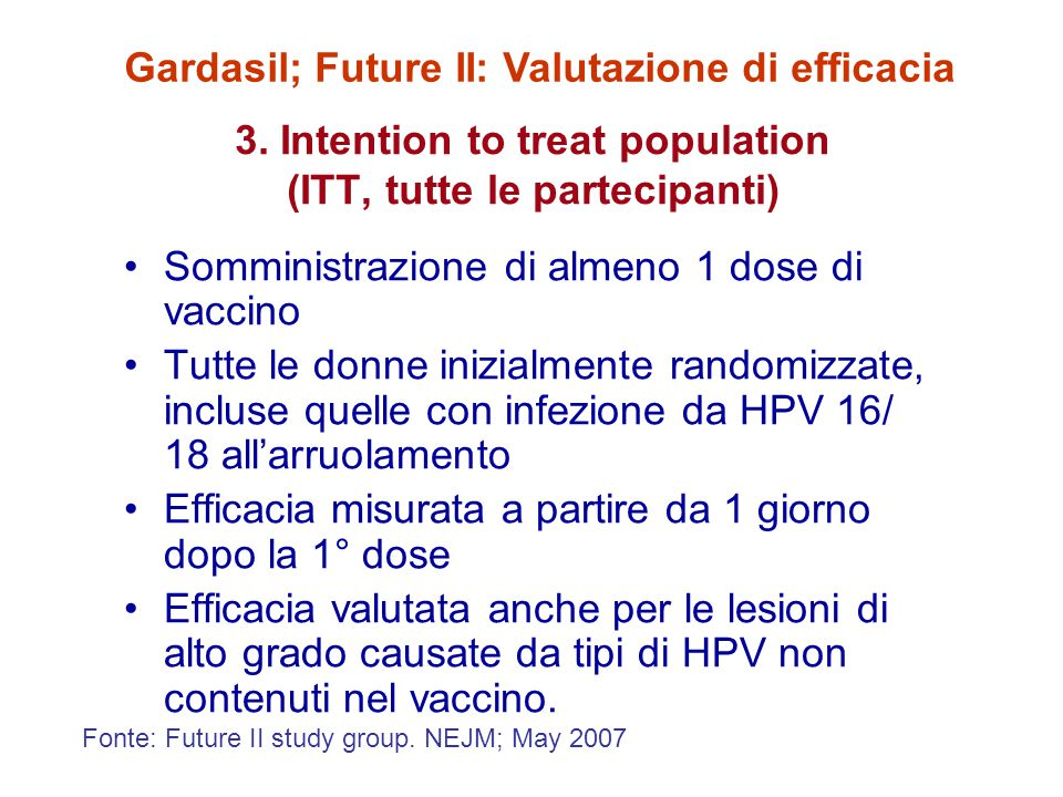 3. Intention to treat population (ITT, tutte le partecipanti)