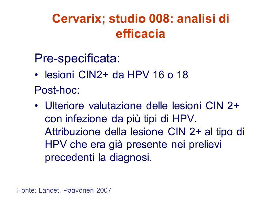 Cervarix; studio 008: analisi di efficacia