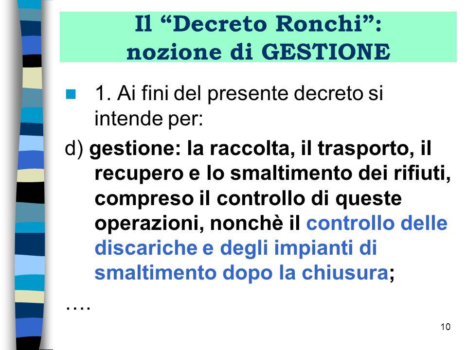 Il Decreto Ronchi : nozione di GESTIONE