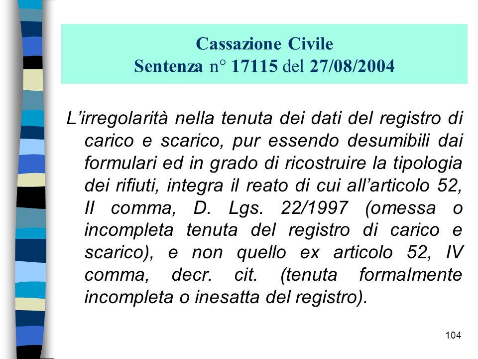 Cassazione Civile Sentenza n° 17115 del 27/08/2004