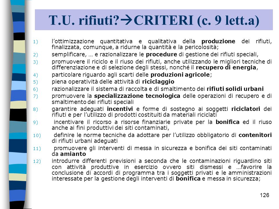 T.U. rifiuti CRITERI (c. 9 lett.a)