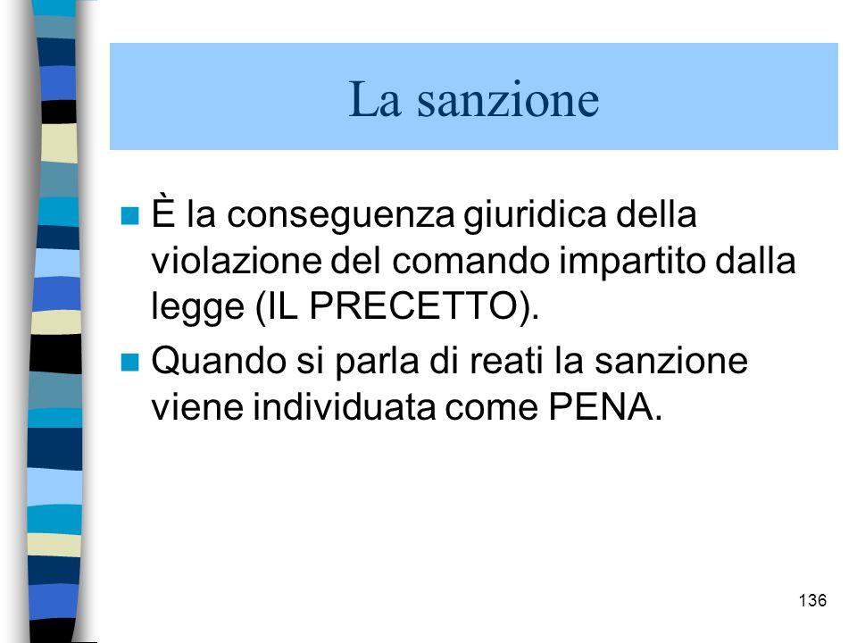La sanzione È la conseguenza giuridica della violazione del comando impartito dalla legge (IL PRECETTO).