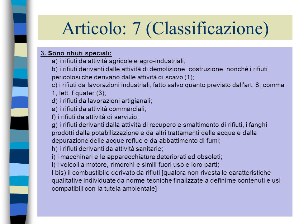 Articolo: 7 (Classificazione)