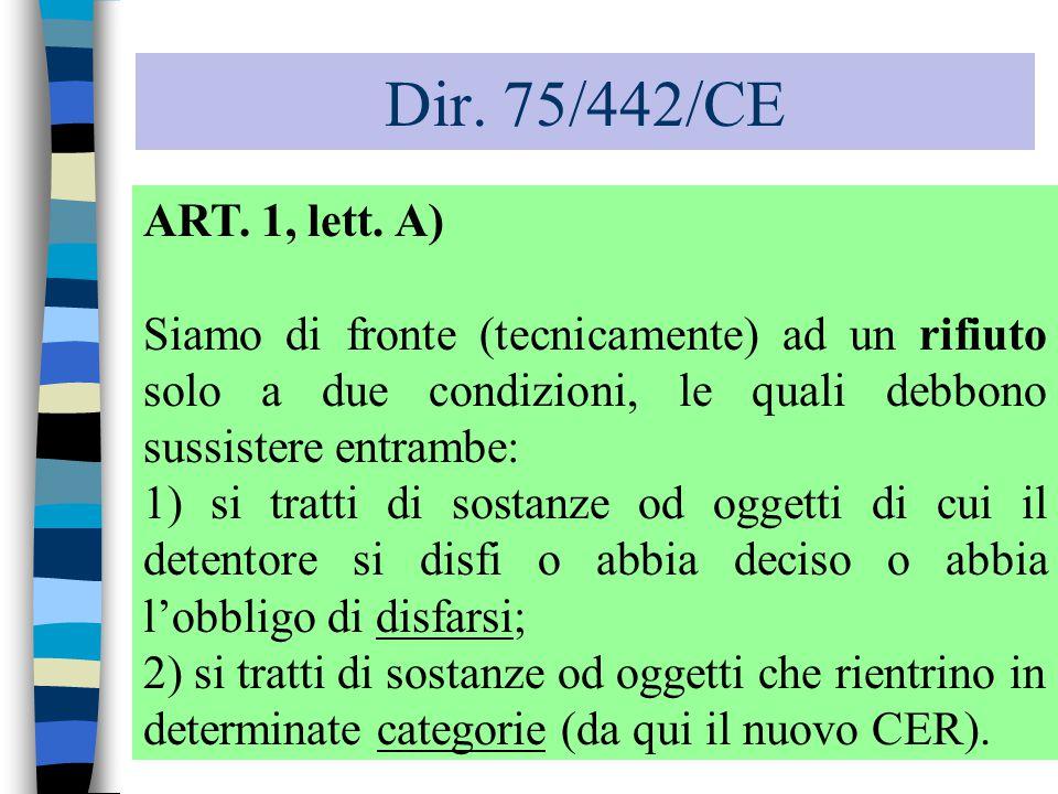 Dir. 75/442/CE ART. 1, lett. A) Siamo di fronte (tecnicamente) ad un rifiuto solo a due condizioni, le quali debbono sussistere entrambe: