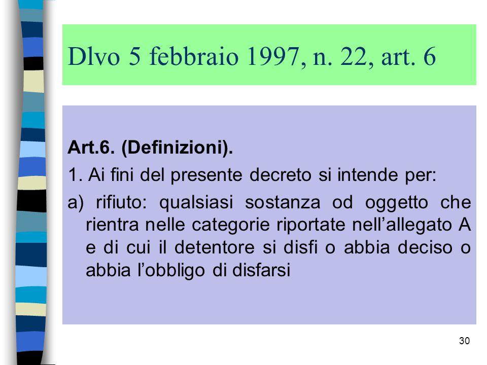 Dlvo 5 febbraio 1997, n. 22, art. 6 Art.6. (Definizioni).