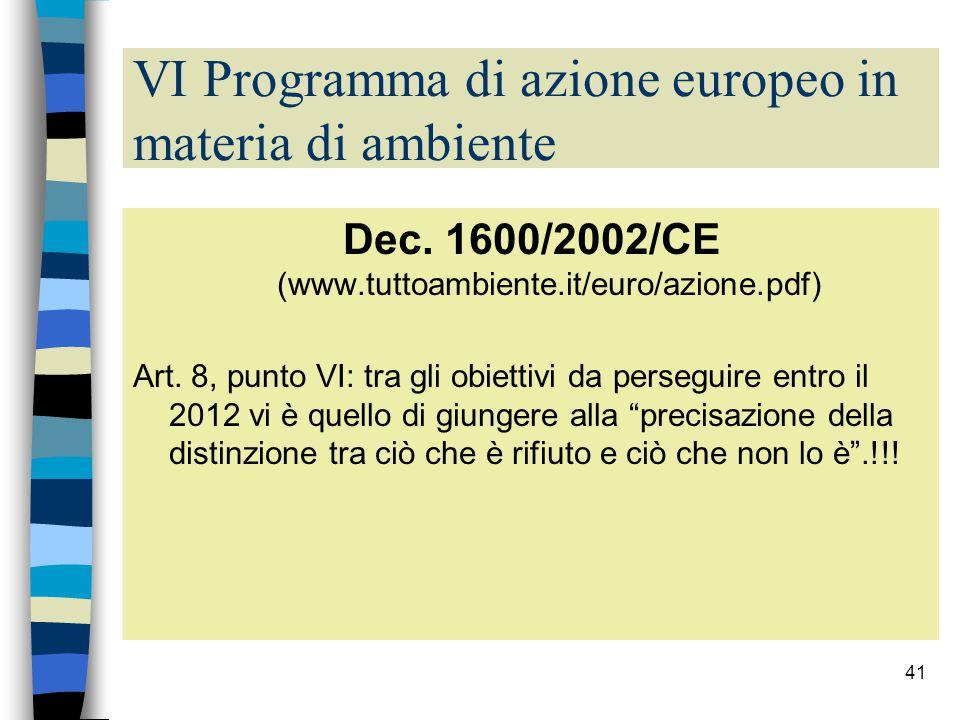 VI Programma di azione europeo in materia di ambiente