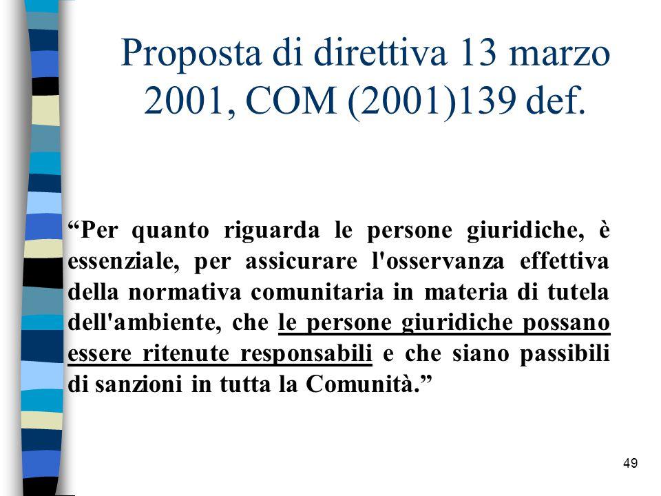 Proposta di direttiva 13 marzo 2001, COM (2001)139 def.