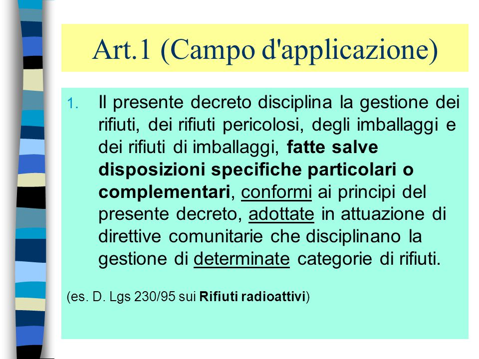 Art.1 (Campo d applicazione)