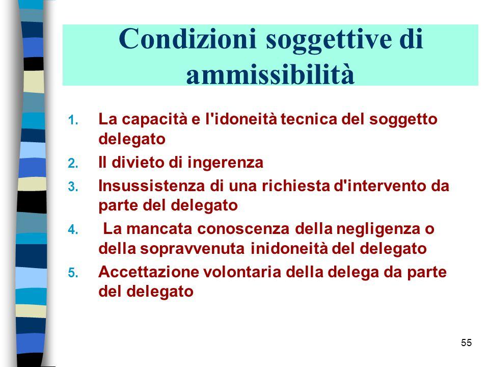 Condizioni soggettive di ammissibilità