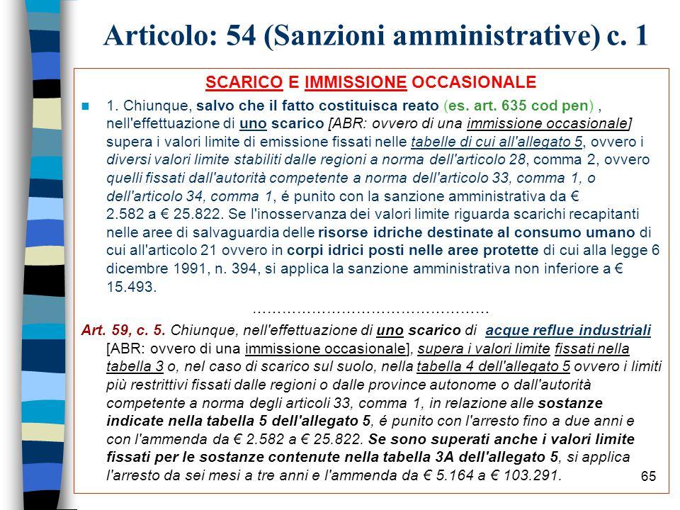 Articolo: 54 (Sanzioni amministrative) c. 1