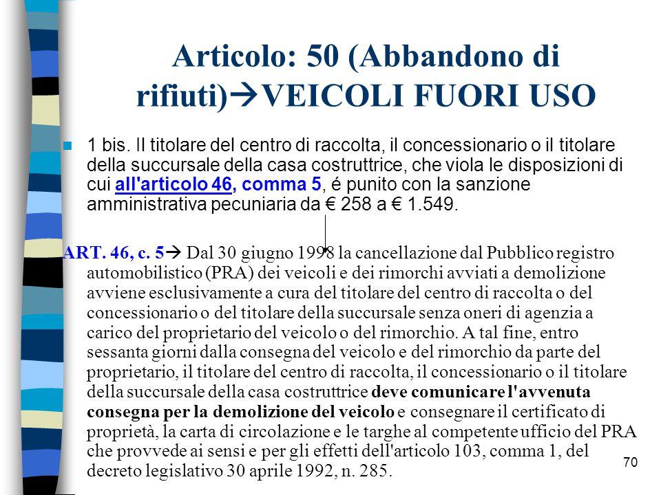 Articolo: 50 (Abbandono di rifiuti)VEICOLI FUORI USO