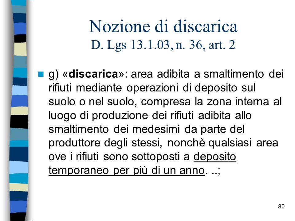 Nozione di discarica D. Lgs 13.1.03, n. 36, art. 2
