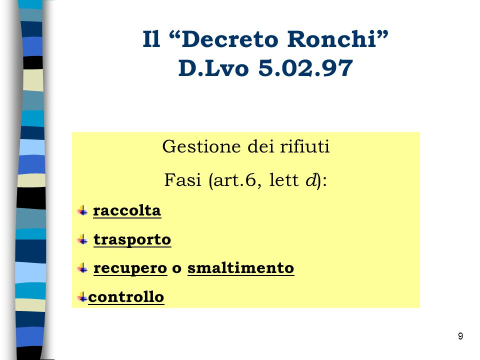 Il Decreto Ronchi D.Lvo 5.02.97