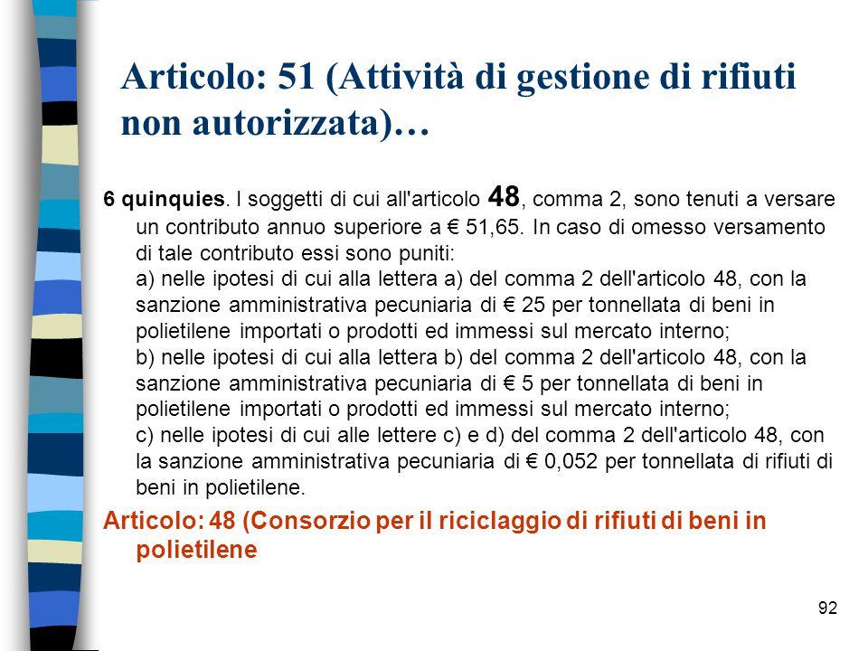 Articolo: 51 (Attività di gestione di rifiuti non autorizzata)…