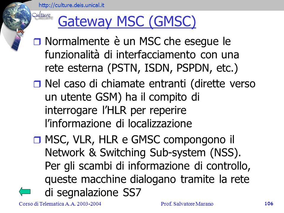 Gateway MSC (GMSC) Normalmente è un MSC che esegue le funzionalità di interfacciamento con una rete esterna (PSTN, ISDN, PSPDN, etc.)