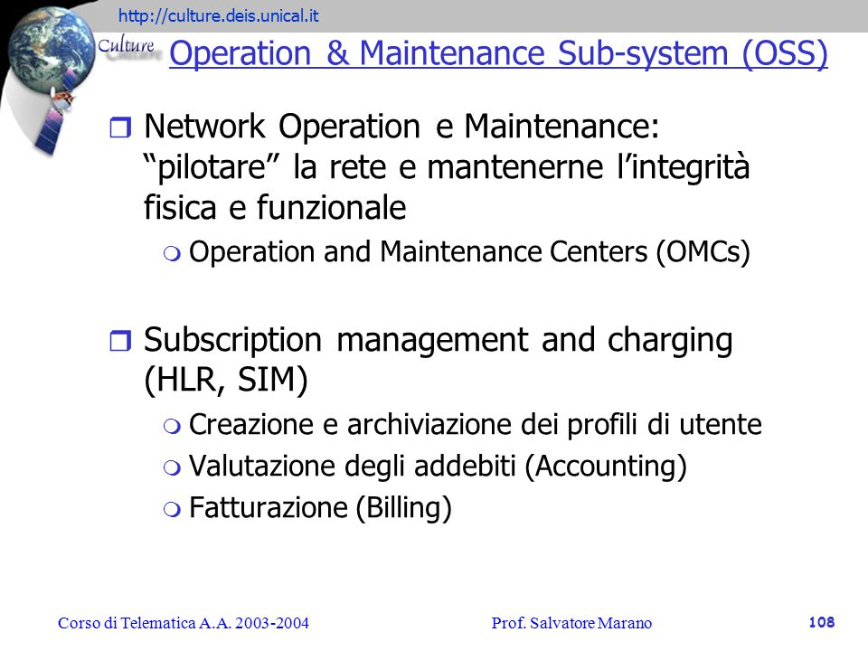 Operation & Maintenance Sub-system (OSS)