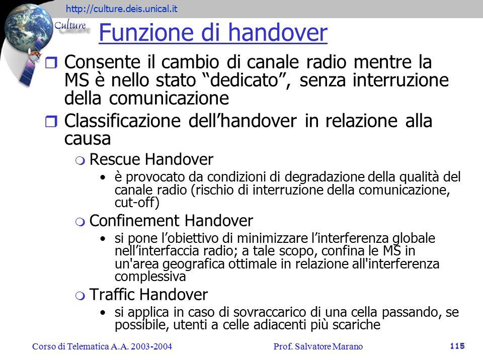 Funzione di handover Consente il cambio di canale radio mentre la MS è nello stato dedicato , senza interruzione della comunicazione.