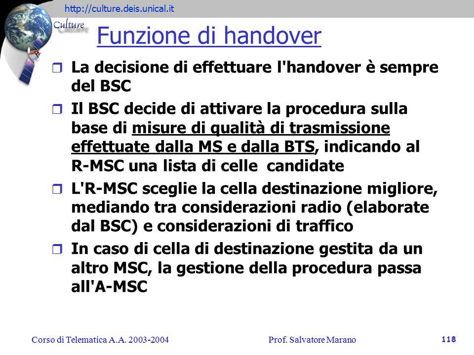 Funzione di handover La decisione di effettuare l handover è sempre del BSC.