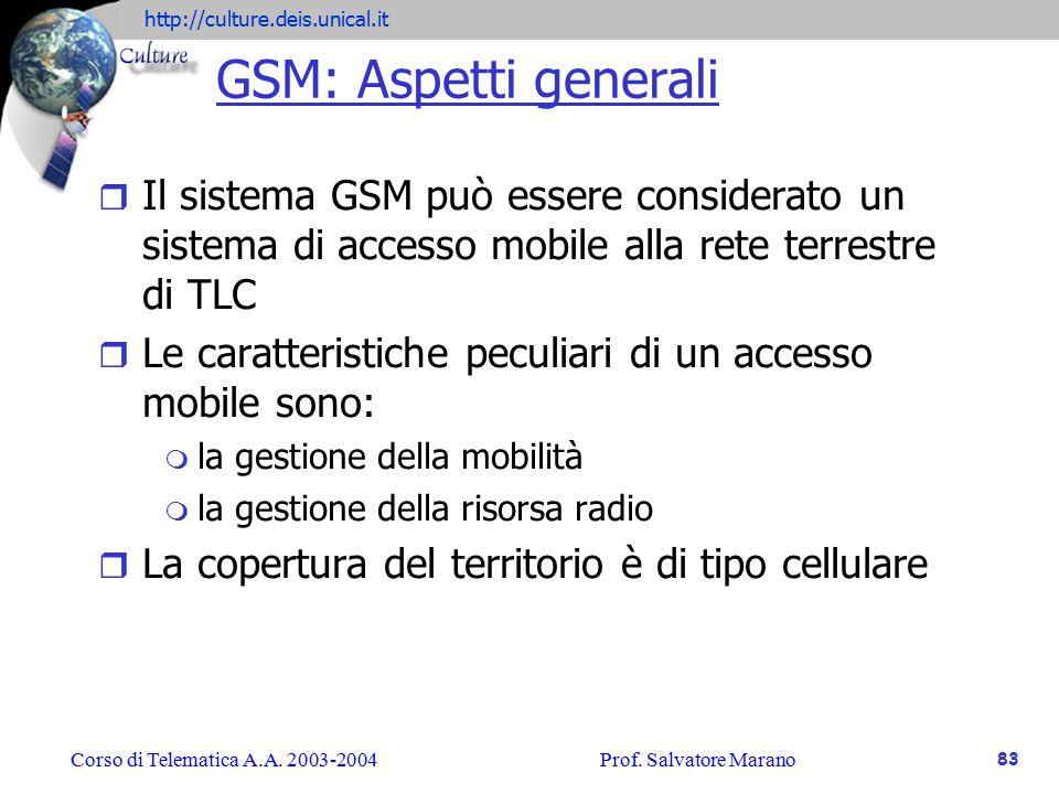 GSM: Aspetti generali Il sistema GSM può essere considerato un sistema di accesso mobile alla rete terrestre di TLC.