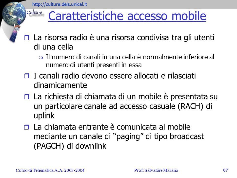 Caratteristiche accesso mobile