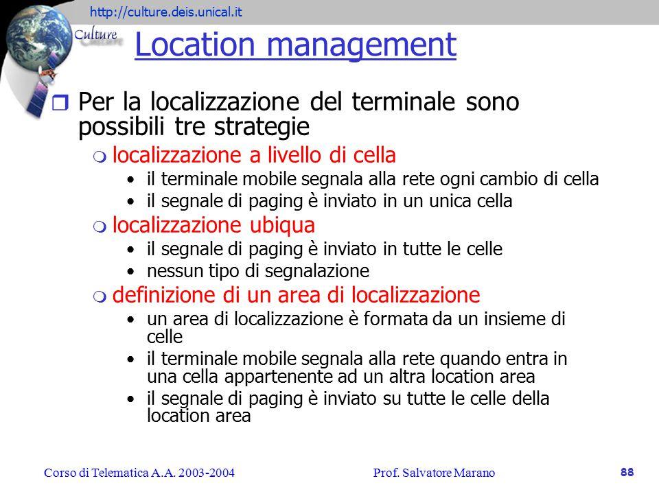 Location management Per la localizzazione del terminale sono possibili tre strategie. localizzazione a livello di cella.