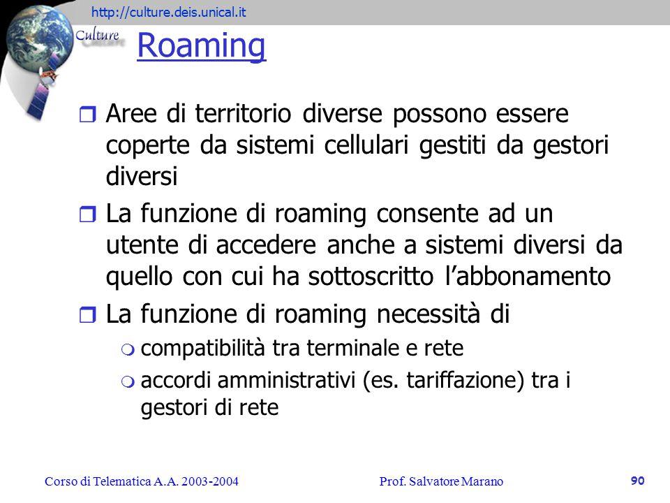 Roaming Aree di territorio diverse possono essere coperte da sistemi cellulari gestiti da gestori diversi.