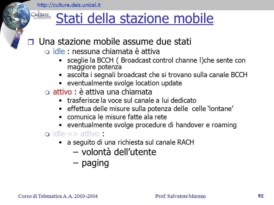 Stati della stazione mobile