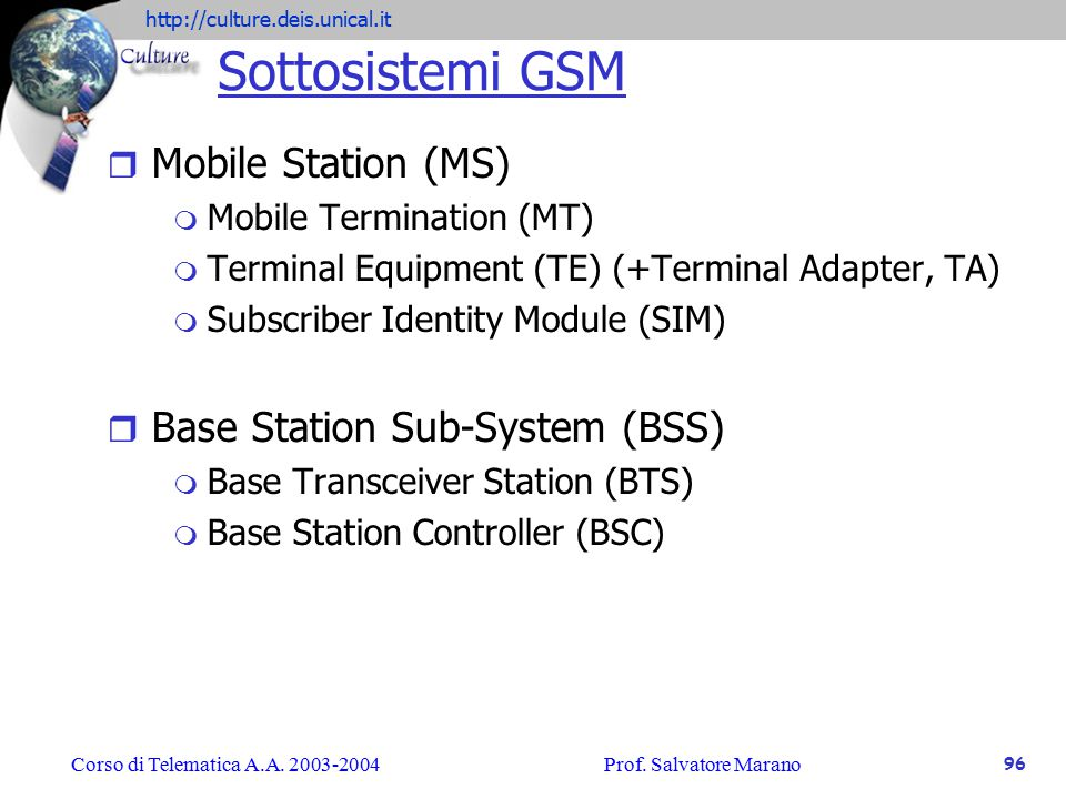 Sottosistemi GSM Mobile Station (MS) Base Station Sub-System (BSS)