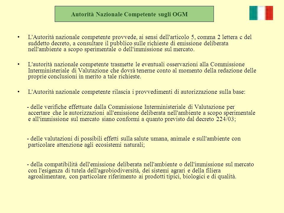 Autorità Nazionale Competente sugli OGM