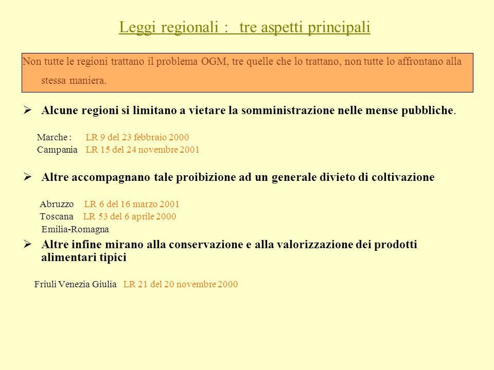 Leggi regionali : tre aspetti principali