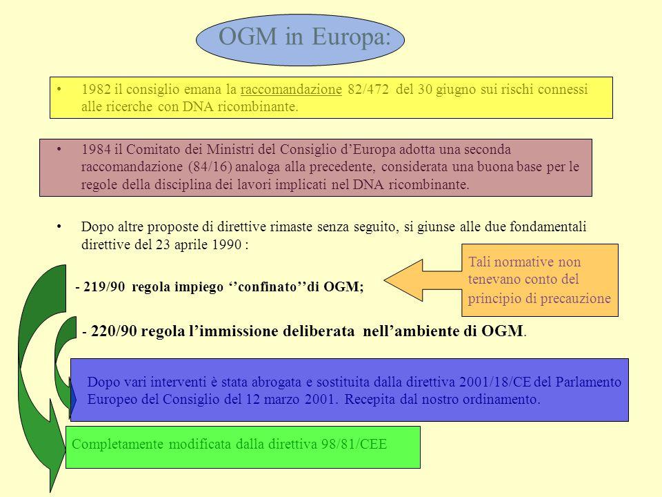 OGM in Europa: 1982 il consiglio emana la raccomandazione 82/472 del 30 giugno sui rischi connessi alle ricerche con DNA ricombinante.