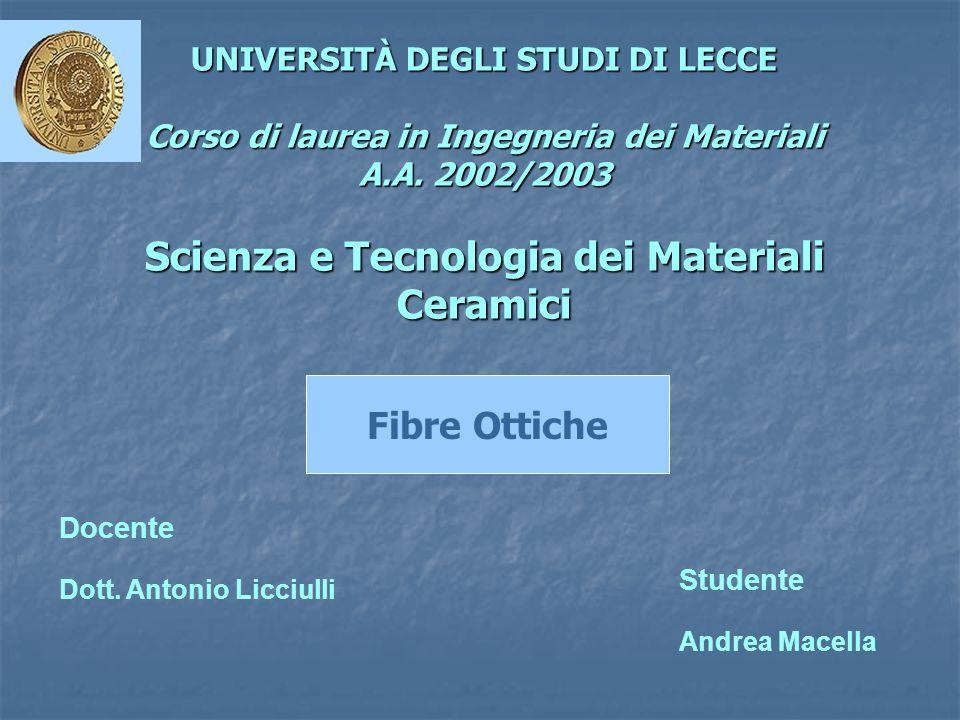 UNIVERSITÀ DEGLI STUDI DI LECCE Corso di laurea in Ingegneria dei Materiali A.A. 2002/2003 Scienza e Tecnologia dei Materiali Ceramici