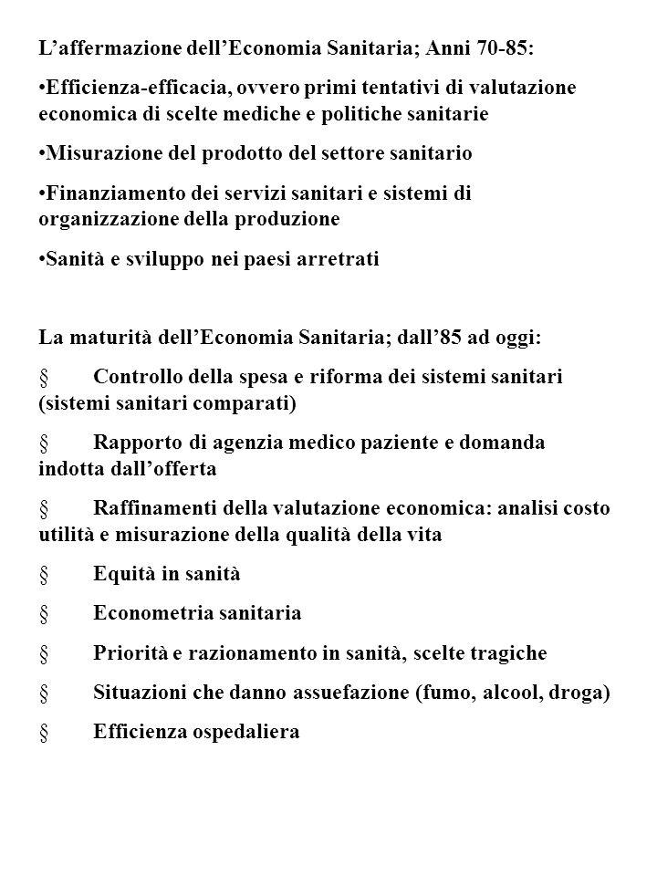 L'affermazione dell'Economia Sanitaria; Anni 70-85: