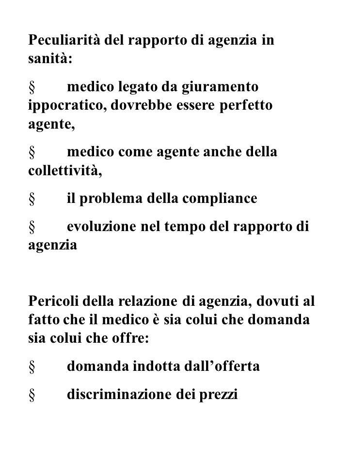 Peculiarità del rapporto di agenzia in sanità: